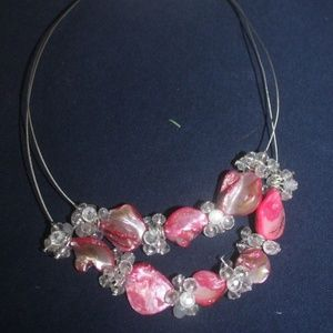 Croft & Barrow pink shell necklace earrings NWT
